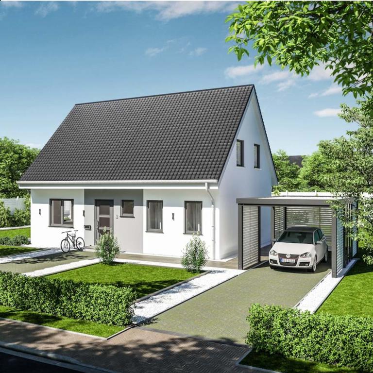 Einfamilienhaus von vorne mit Carport*